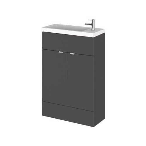 Elite Grey Gloss 600mm Vanity Unit & Basin (255mm Deep)